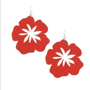 RED LEATHER FLORAL EARRINGS